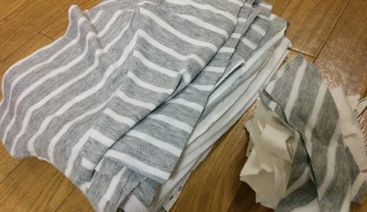 着古した服は、大・小 2サイズのウエスにして使い切る
